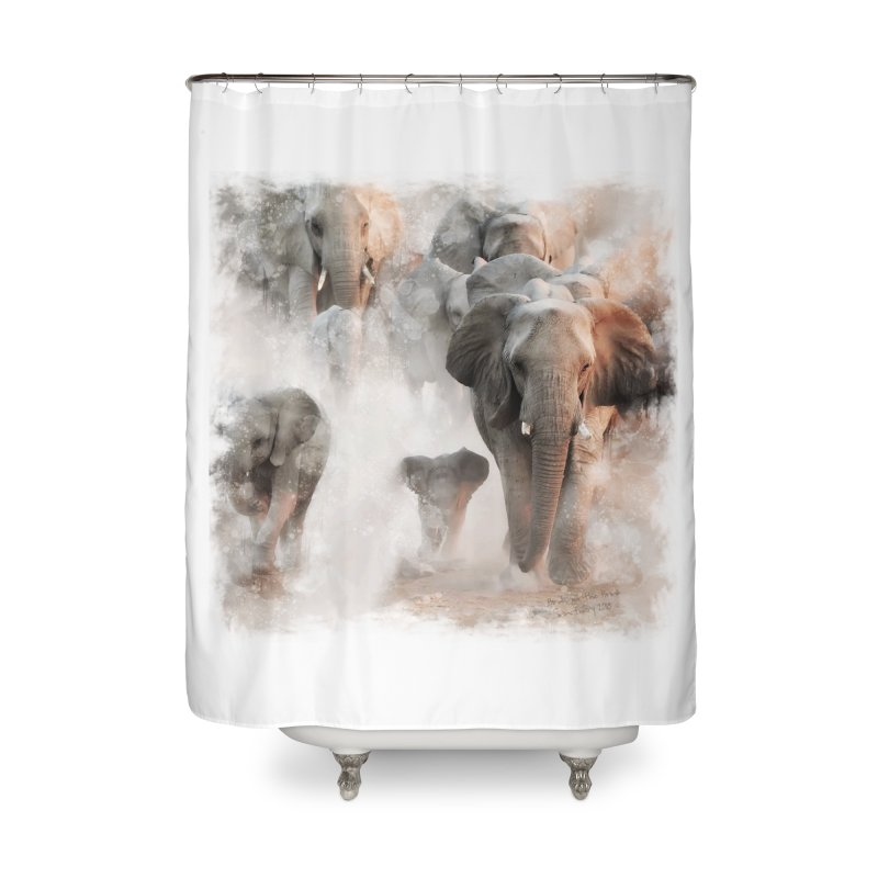 Elephant Herd on the Move Home Shower Curtain by Birds on the Brink Sanctuary Shop