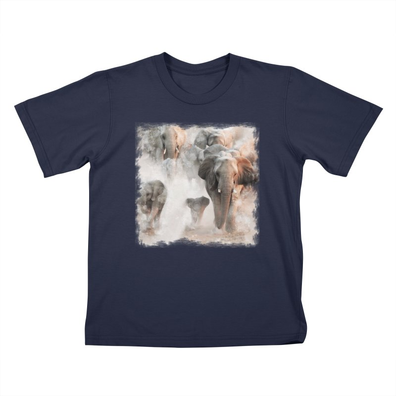 Elephant Herd on the Move Kids T-Shirt by Birds on the Brink Sanctuary Shop