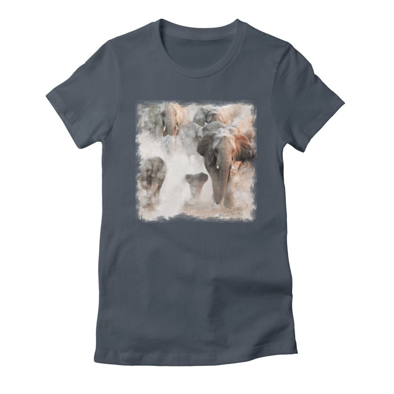Elephant Herd on the Move Women's T-Shirt by Birds on the Brink Sanctuary Shop