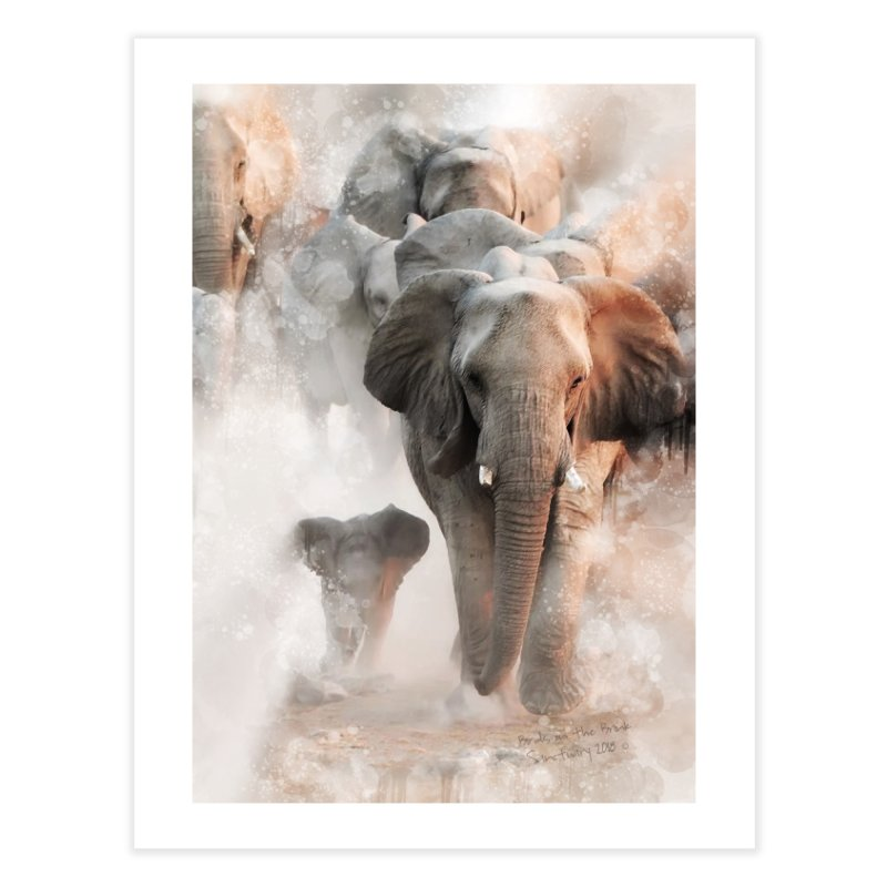 Elephant Herd on the Move Home Fine Art Print by Birds on the Brink Sanctuary Shop