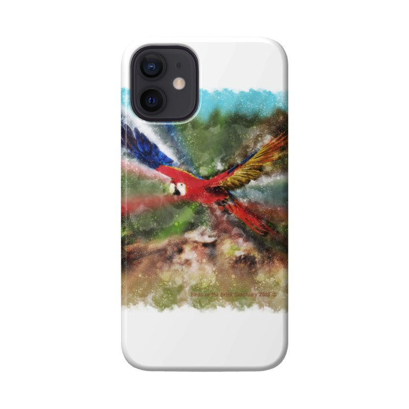 Scarlet Macaw in Flight Accessories Phone Case by Birds on the Brink Sanctuary Shop