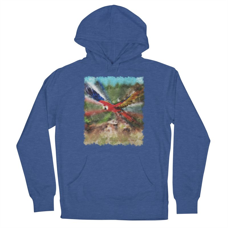 Scarlet Macaw in Flight Men's Pullover Hoody by Birds on the Brink Sanctuary Shop