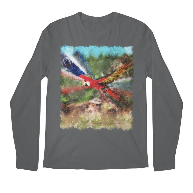 Scarlet Macaw in Flight Men's Longsleeve T-Shirt by Birds on the Brink Sanctuary Shop