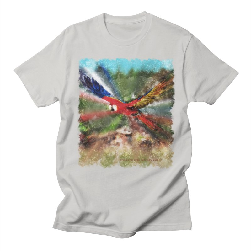 Scarlet Macaw in Flight Men's T-Shirt by Birds on the Brink Sanctuary Shop