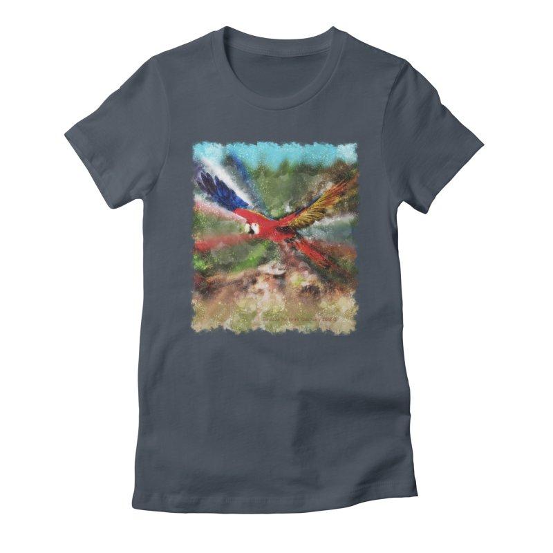 Scarlet Macaw in Flight Women's T-Shirt by Birds on the Brink Sanctuary Shop