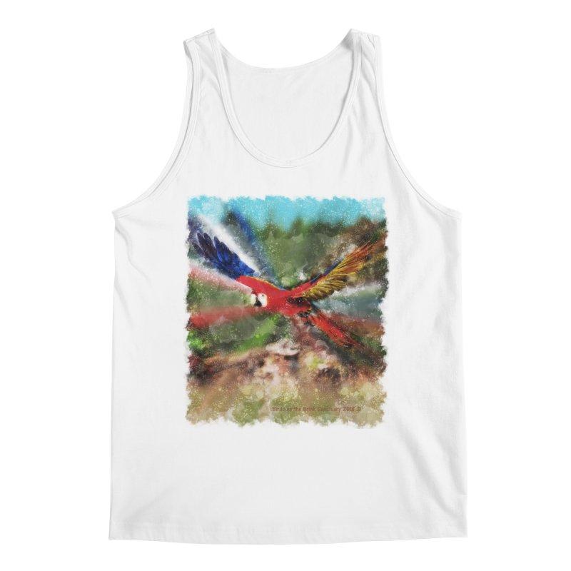 Scarlet Macaw in Flight Men's Tank by Birds on the Brink Sanctuary Shop