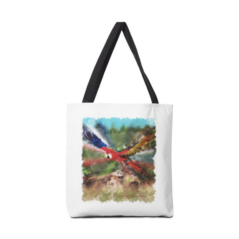 Scarlet Macaw in Flight Accessories Bag by Birds on the Brink Sanctuary Shop