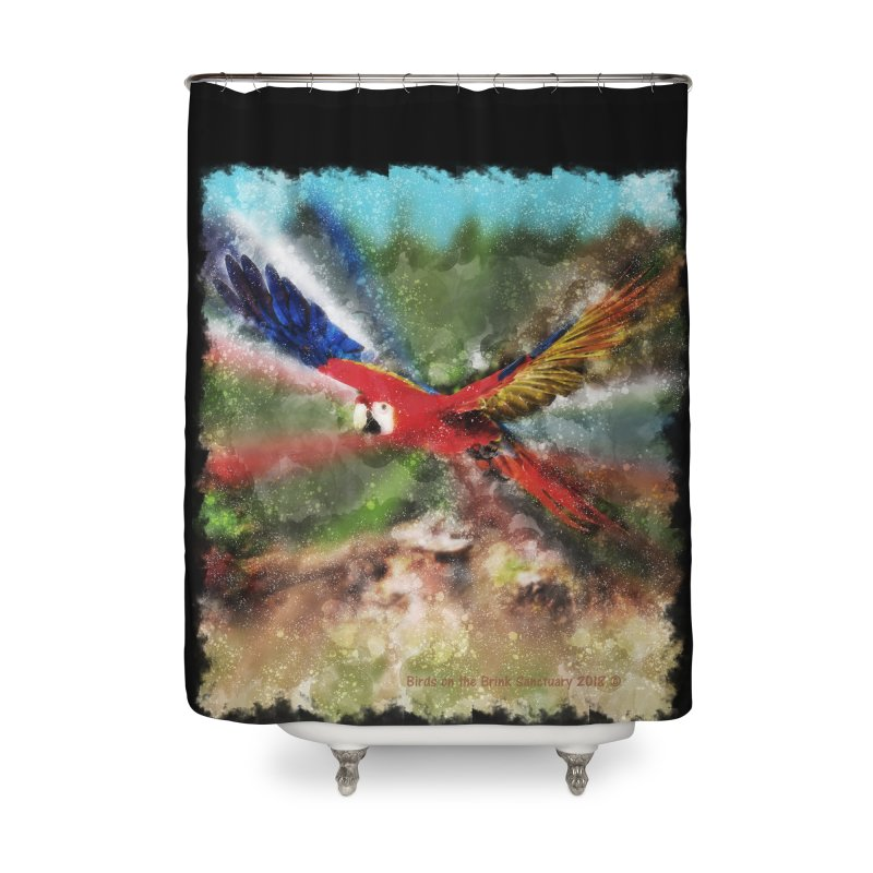 Scarlet Macaw in Flight Home Shower Curtain by Birds on the Brink Sanctuary Shop