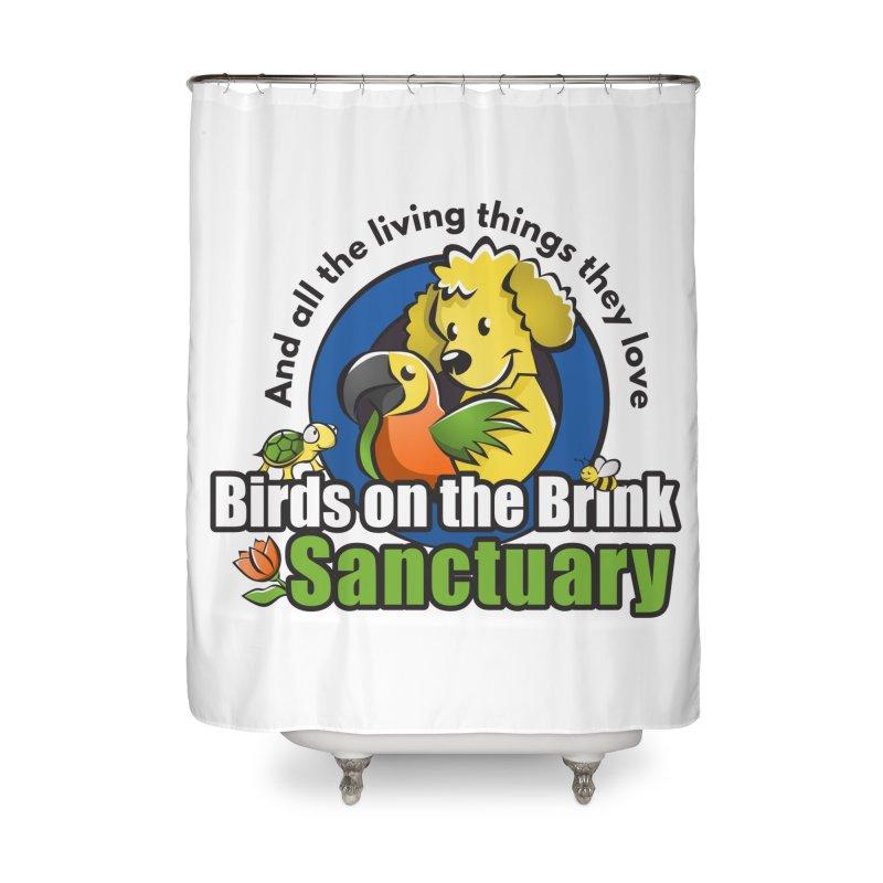 Birds on the Brink Logo Gear Home Shower Curtain by Birds on the Brink Sanctuary Shop