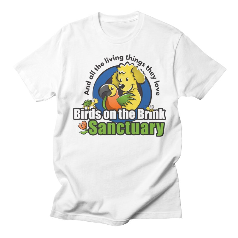 Birds on the Brink Logo Gear in Women's Regular Unisex T-Shirt White by Birds on the Brink Sanctuary Shop
