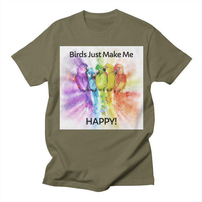 Birds Just Make Me HAPPY! Men's T-Shirt by Birds on the Brink Sanctuary Shop