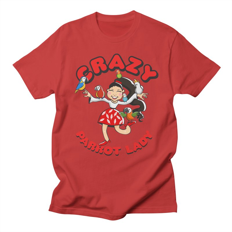 Crazy Bird Lady - Red Men's T-Shirt by Birds on the Brink Sanctuary Shop