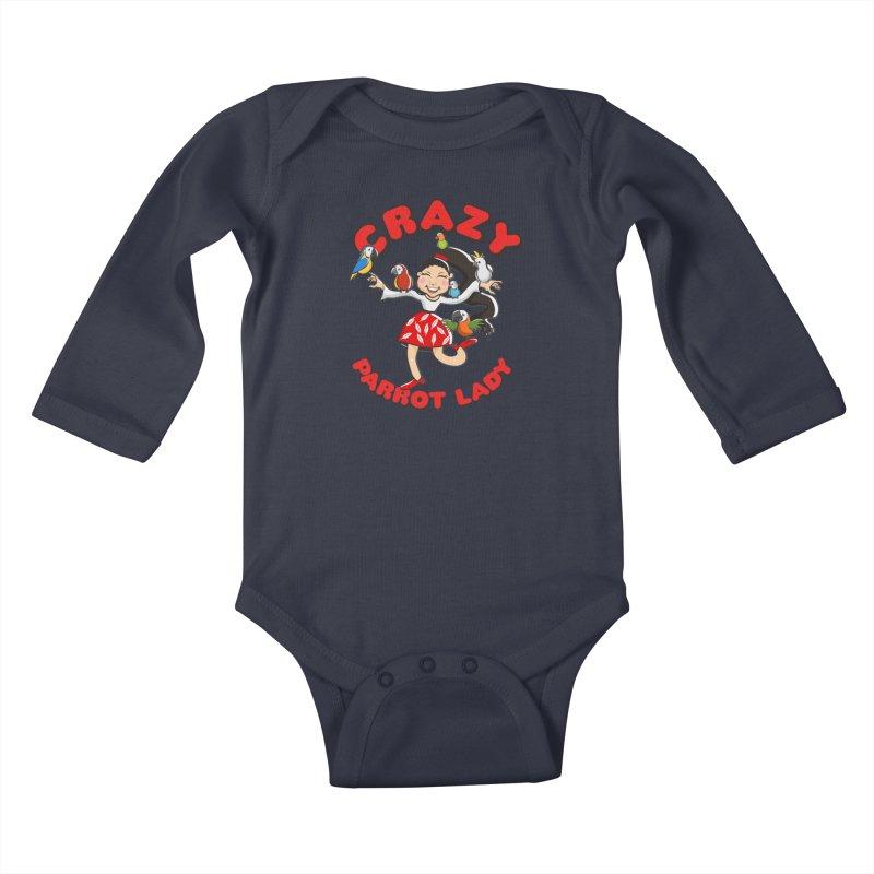 Crazy Bird Lady - Red Kids Baby Longsleeve Bodysuit by Birds on the Brink Sanctuary Shop
