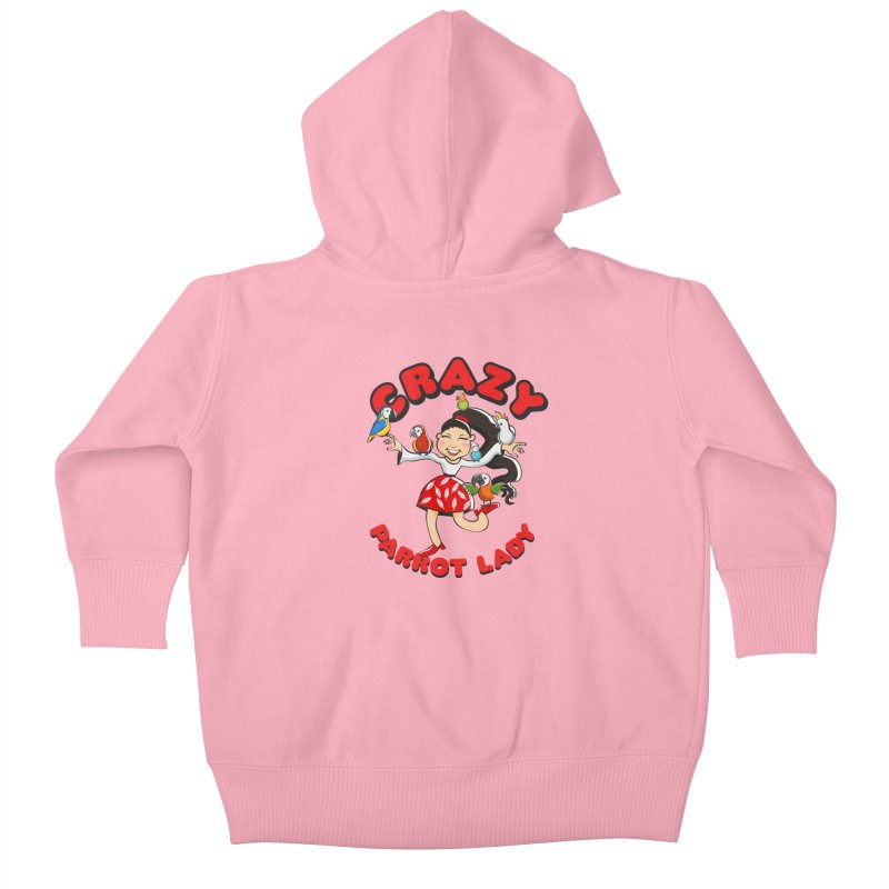 Crazy Bird Lady - Red Kids Baby Zip-Up Hoody by Birds on the Brink Sanctuary Shop