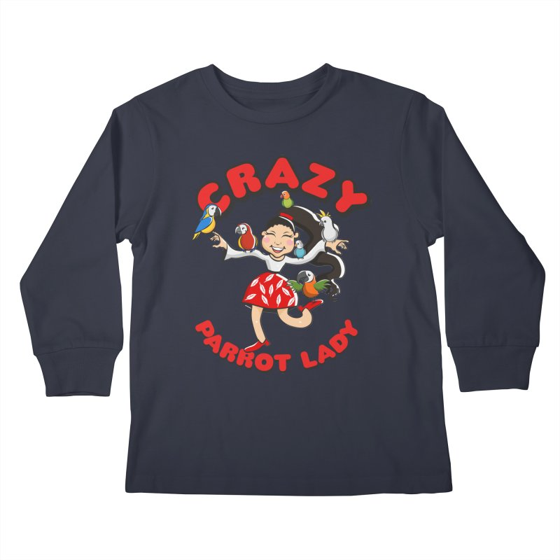 Crazy Bird Lady - Red Kids Longsleeve T-Shirt by Birds on the Brink Sanctuary Shop