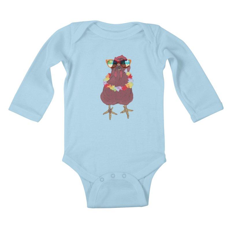 Aloha CHICKEN!!  Kids Baby Longsleeve Bodysuit by BRIANWANDTKEART's Artist Shop