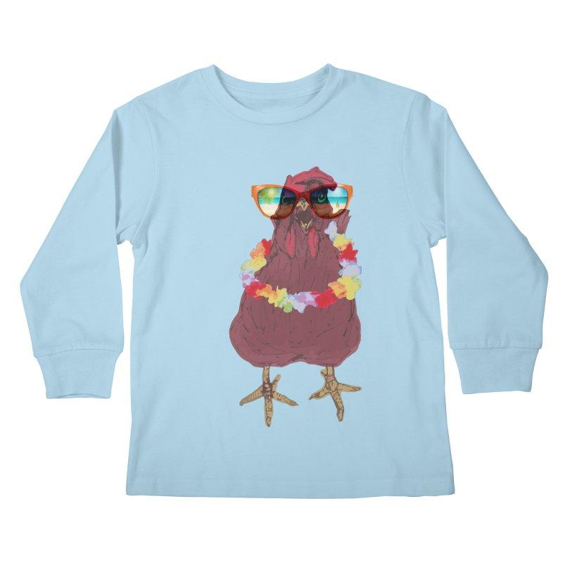 Aloha CHICKEN!!  Kids Longsleeve T-Shirt by BRIANWANDTKEART's Artist Shop