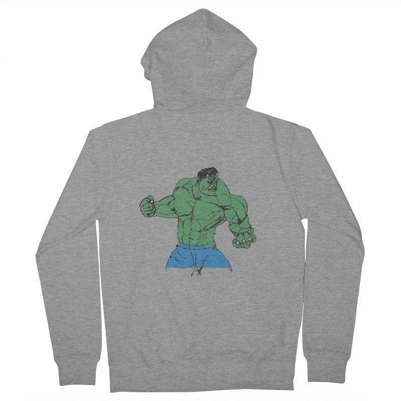 incredible hulk Men's French Terry Zip-Up Hoody by BRIANWANDTKEART's Artist Shop
