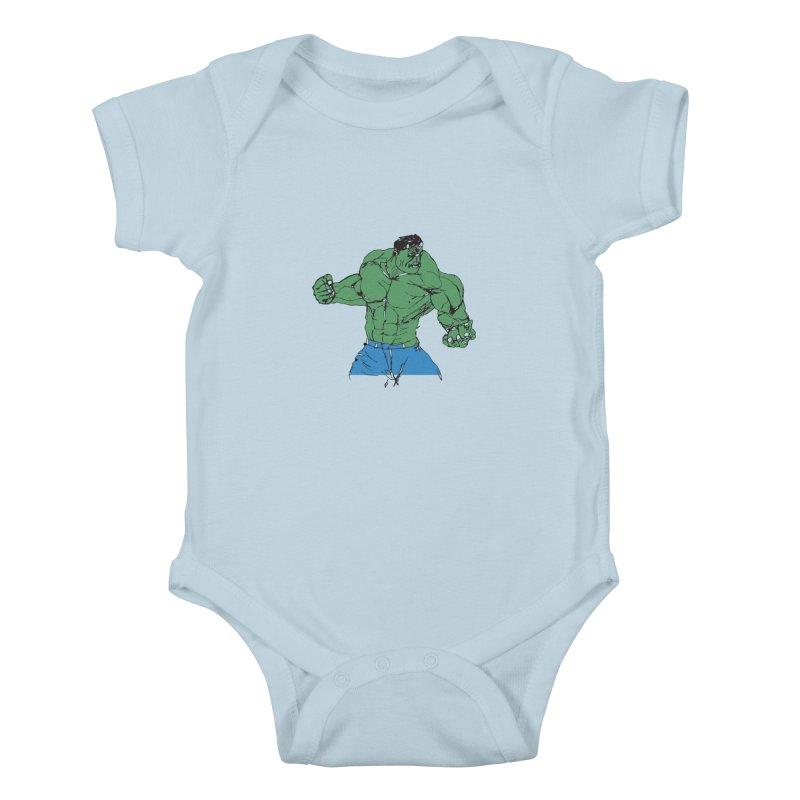 incredible hulk Kids Baby Bodysuit by BRIANWANDTKEART's Artist Shop