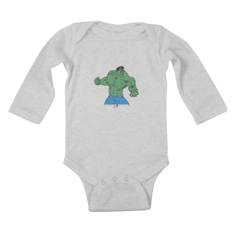 incredible hulk Kids Baby Longsleeve Bodysuit by BRIANWANDTKEART's Artist Shop