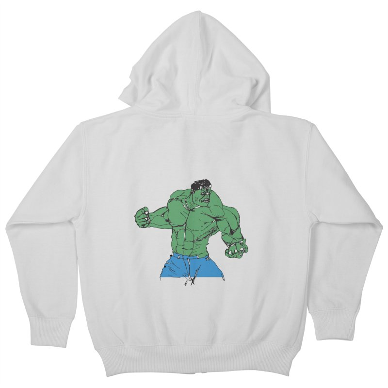 incredible hulk Kids Zip-Up Hoody by BRIANWANDTKEART's Artist Shop