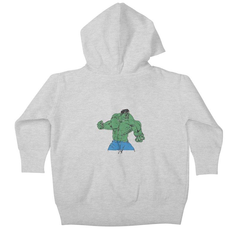 incredible hulk Kids Baby Zip-Up Hoody by BRIANWANDTKEART's Artist Shop