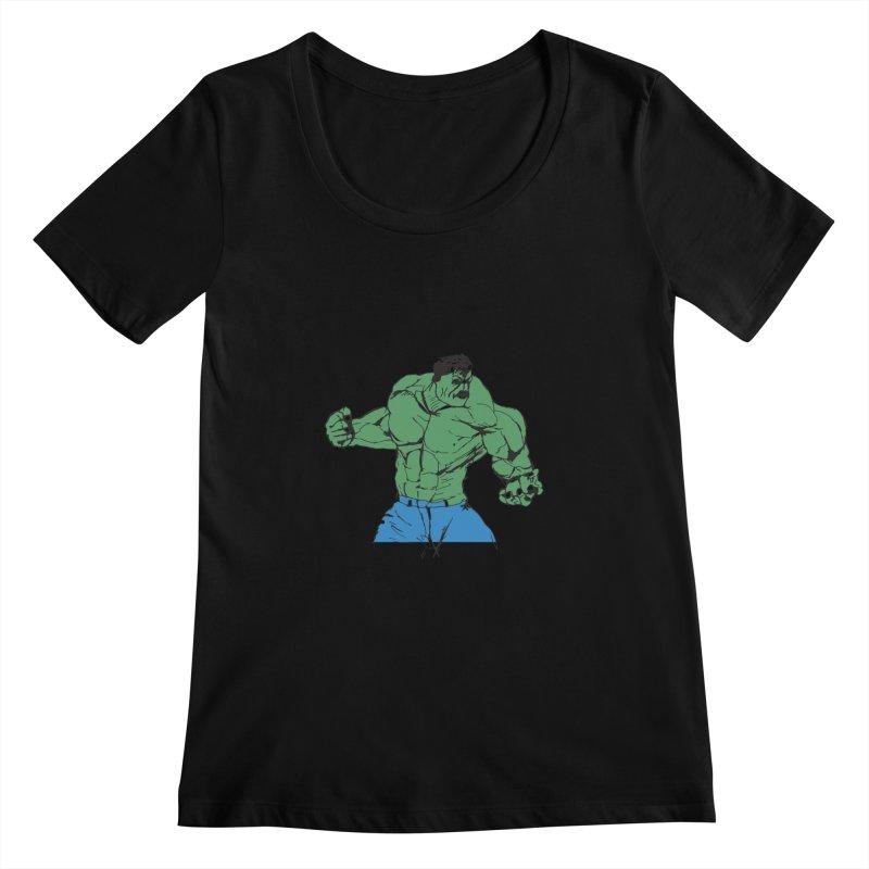 incredible hulk Women's Scoopneck by BRIANWANDTKEART's Artist Shop