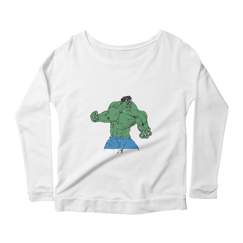 incredible hulk Women's Scoop Neck Longsleeve T-Shirt by BRIANWANDTKEART's Artist Shop