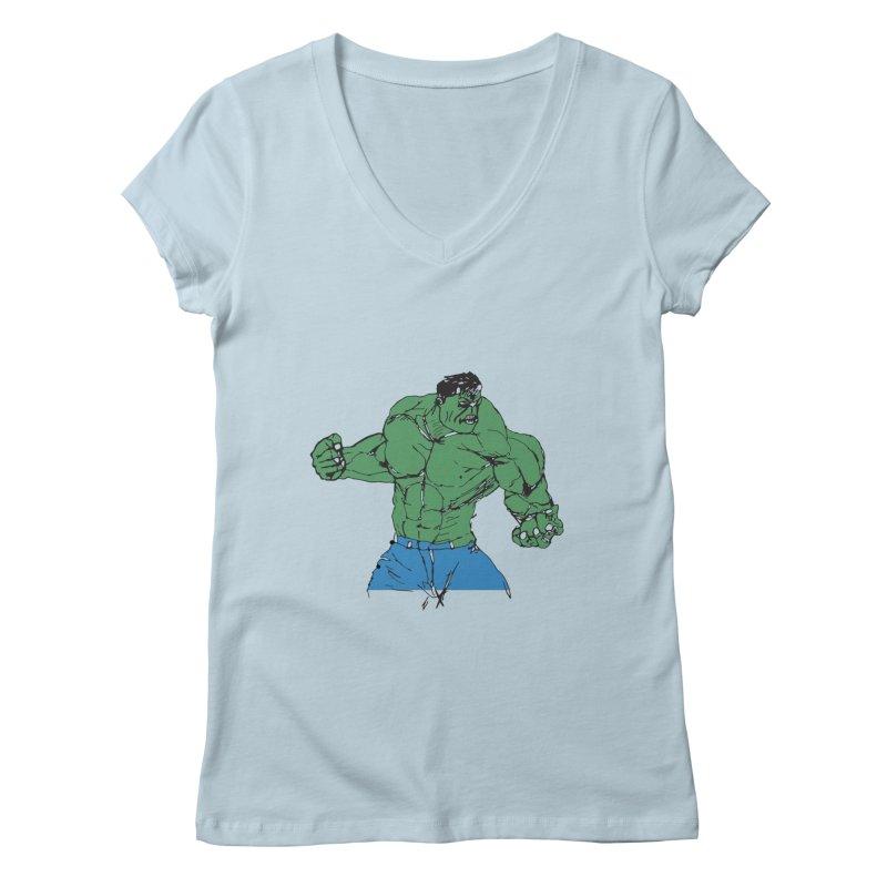 incredible hulk Women's V-Neck by BRIANWANDTKEART's Artist Shop