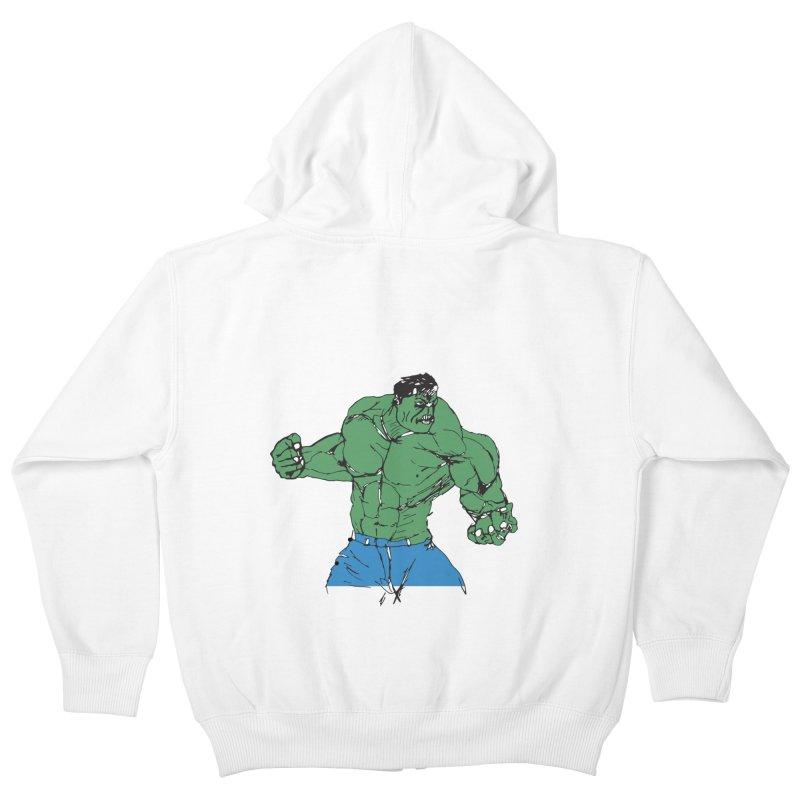 incredible hulk Kids Zip-Up Hoody by BRIANWANDTKEART's Artist Shop