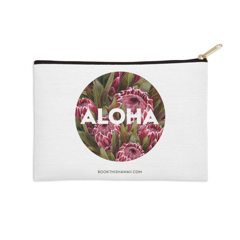 ALOHA.floral circle Accessories Zip Pouch by Book This Hawaii Apparel Shop