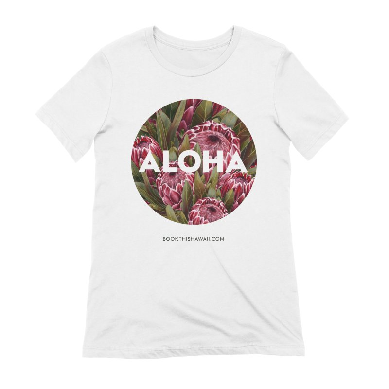 ALOHA.floral circle Women's Extra Soft T-Shirt by Book This Hawaii Apparel Shop