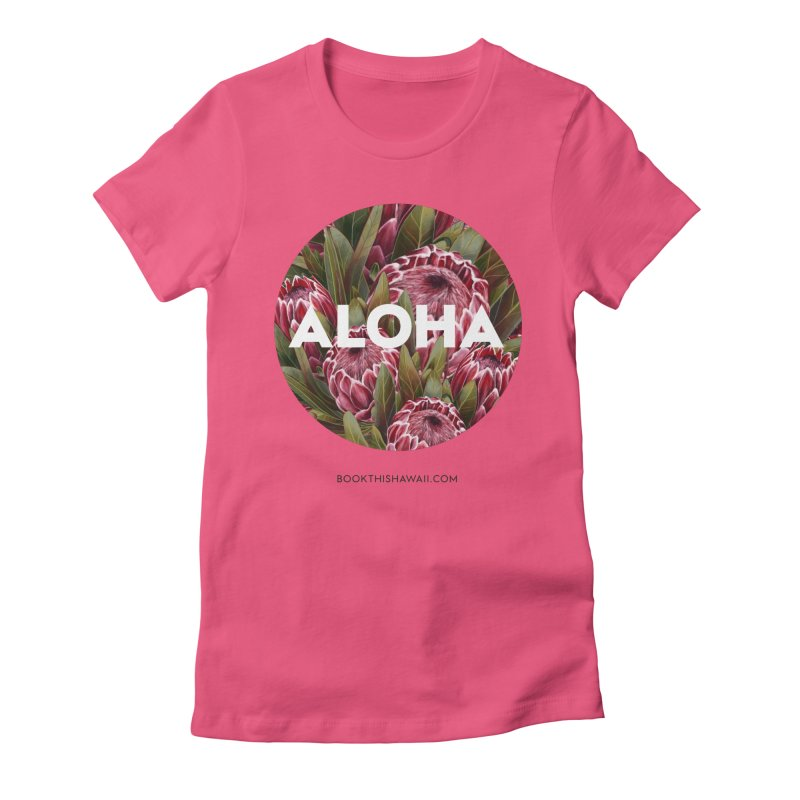 ALOHA.floral circle Women's Fitted T-Shirt by Book This Hawaii Apparel Shop
