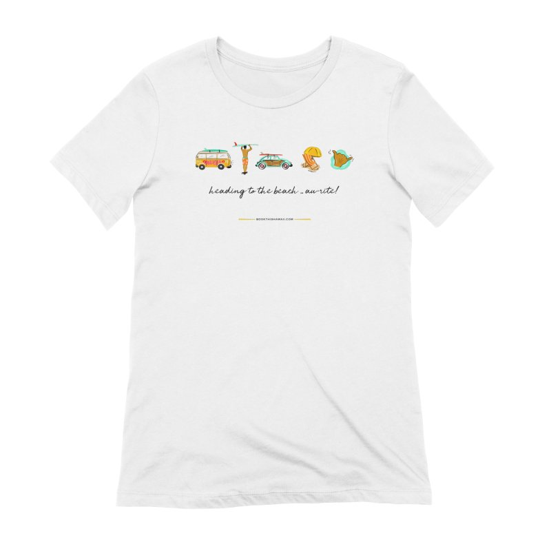 BTH.heading to beach.emoji in Women's Extra Soft T-Shirt White by Book This Hawaii Apparel Shop
