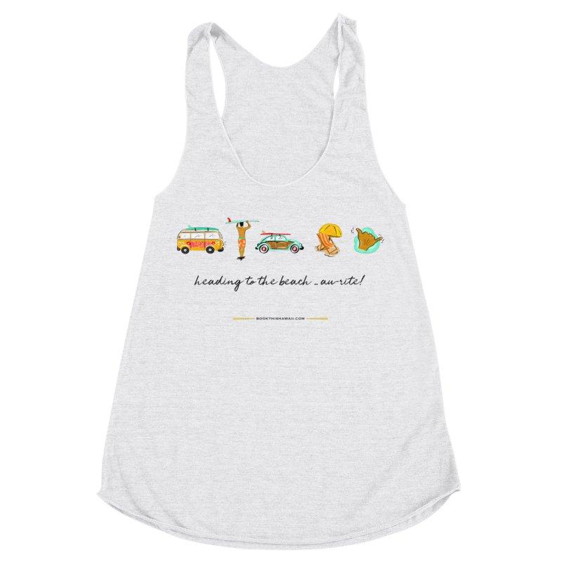 BTH.heading to beach.emoji Women's Racerback Triblend Tank by Book This Hawaii Apparel Shop