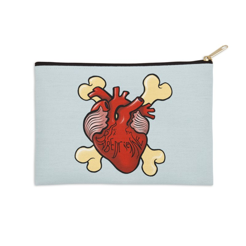 Heart and Crossbones Accessories Zip Pouch by Babedrienne's Artist Shop