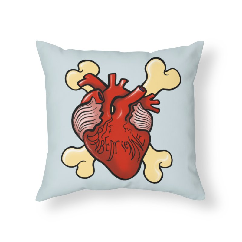 Heart and Crossbones Home Throw Pillow by Babedrienne's Artist Shop