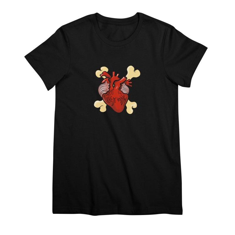 Heart and Crossbones Women's Premium T-Shirt by Babedrienne's Artist Shop