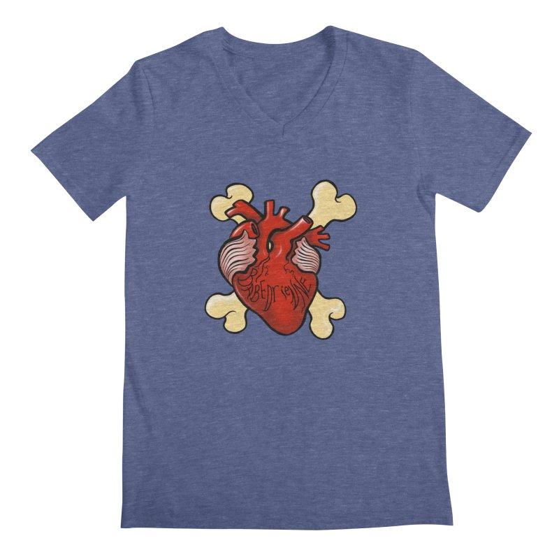 Heart and Crossbones Men's Regular V-Neck by Babedrienne's Artist Shop