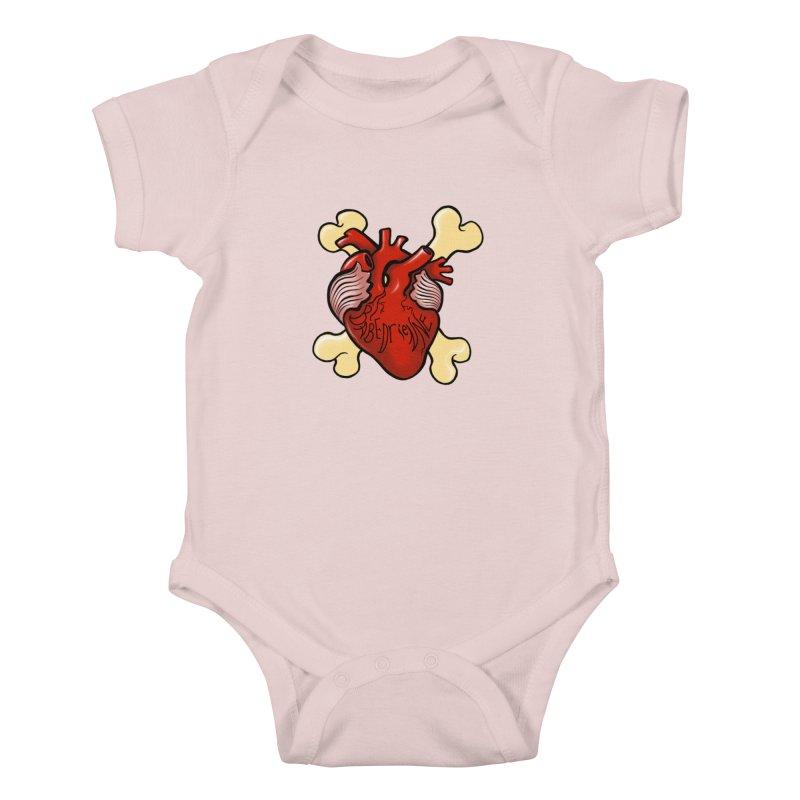 Heart and Crossbones Kids Baby Bodysuit by Babedrienne's Artist Shop