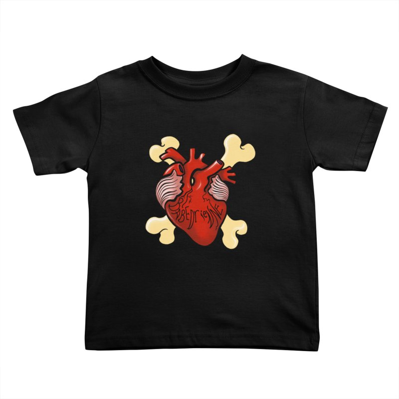 Heart and Crossbones Kids Toddler T-Shirt by Babedrienne's Artist Shop