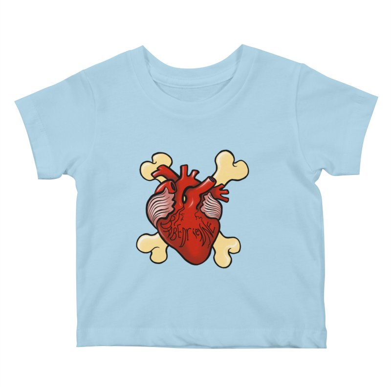 Heart and Crossbones Kids Baby T-Shirt by Babedrienne's Artist Shop