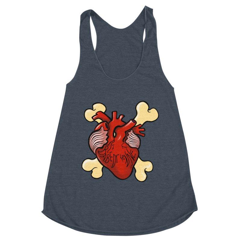 Heart and Crossbones Women's Racerback Triblend Tank by Babedrienne's Artist Shop