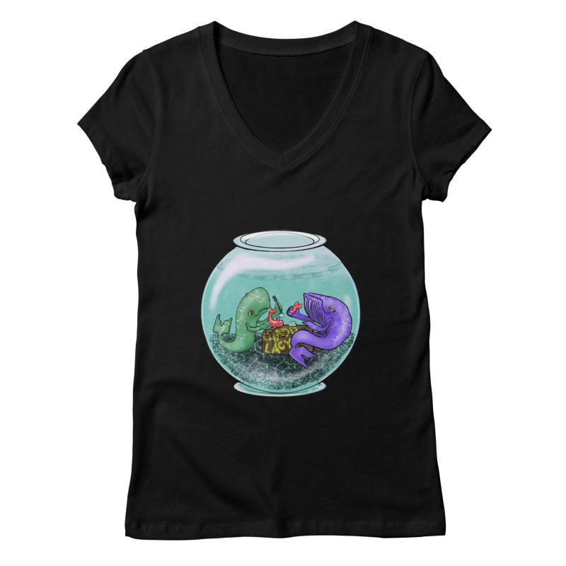 Chadd Lacy Whale Fishbowl Women's Regular V-Neck by Babedrienne's Artist Shop