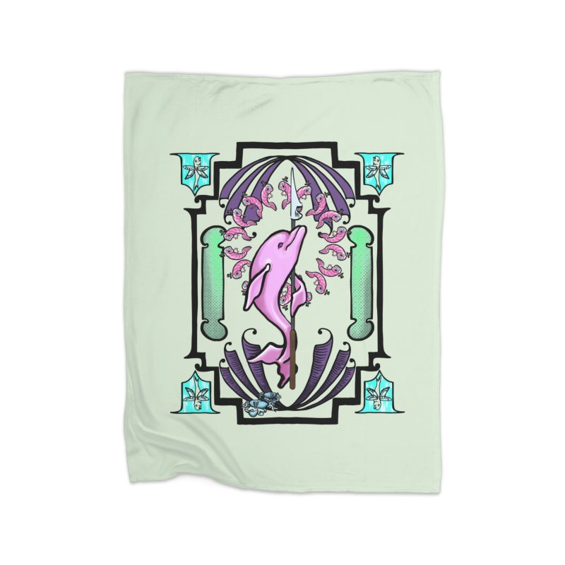 Nouveau Dolphin Home Fleece Blanket Blanket by Babedrienne's Artist Shop
