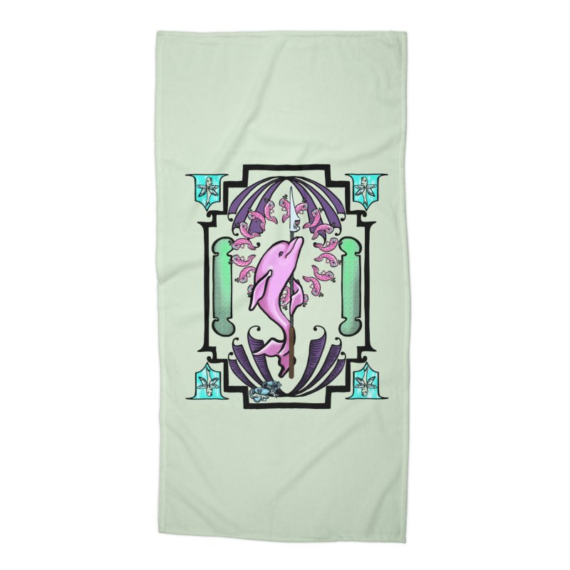 Nouveau Dolphin Accessories Beach Towel by Babedrienne's Artist Shop