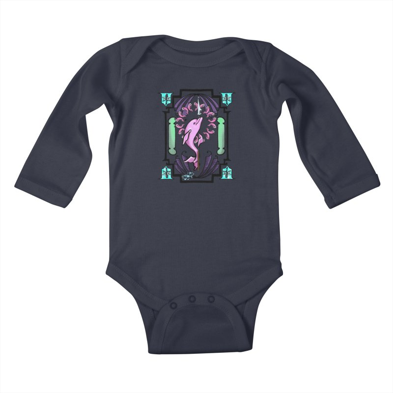 Nouveau Dolphin Kids Baby Longsleeve Bodysuit by Babedrienne's Artist Shop