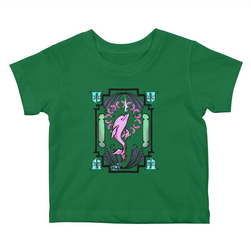 Nouveau Dolphin Kids Baby T-Shirt by Babedrienne's Artist Shop