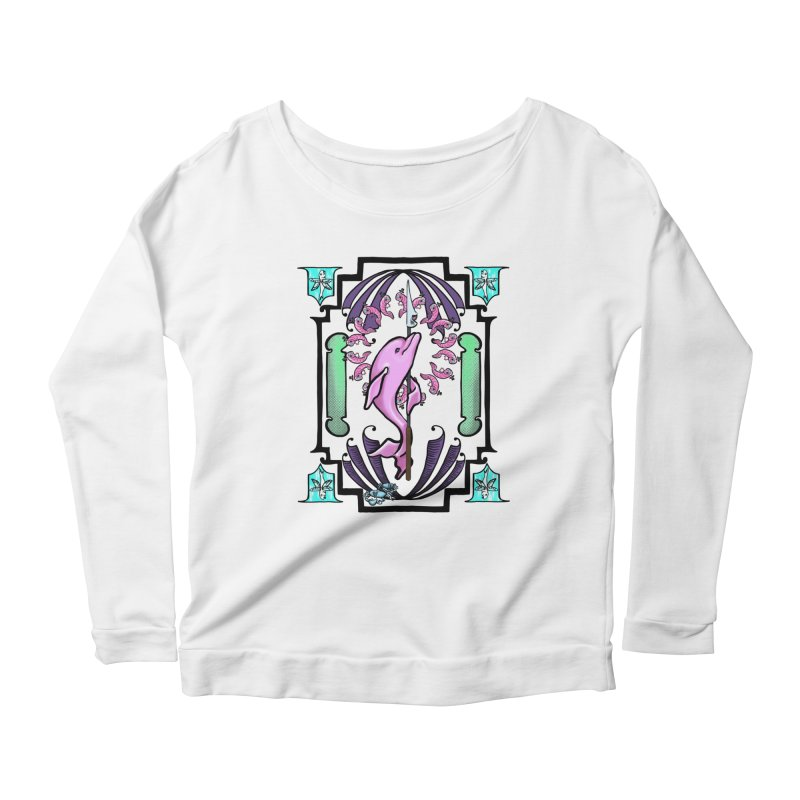 Nouveau Dolphin Women's Scoop Neck Longsleeve T-Shirt by Babedrienne's Artist Shop