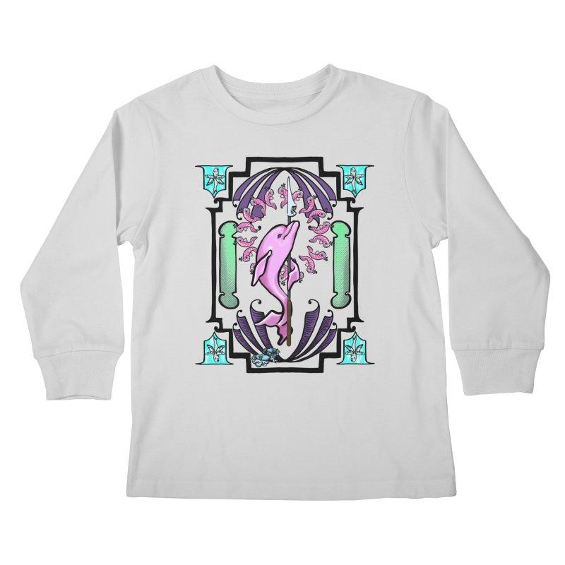 Nouveau Dolphin Kids Longsleeve T-Shirt by Babedrienne's Artist Shop